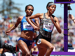 Sifan Hassan, Nike Oregon Project, Netherlands, battles Genzebe Dibaba, Ethiopia, and wins womens 3000 meters, 8:18.49, world-leading time, also meet and Diamond League record, 2019 The Prefontaine Classic Track & Field<br /> IAAF Diamond League