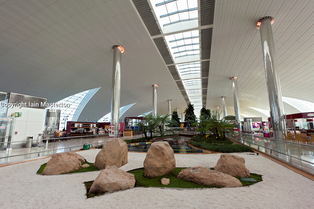 Japanese garden in Terminal 3 at international airport in Dubai in United Arab Emirates