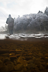 The Dunkeld Hilton for the opening of the Tay for the 2012 fishing season. Image shot using an underwater housing of the camera body..Pic © Michael Schofield...
