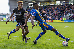 March 23, 2019 - Meadow, Shropshire, United Kingdom - Omar Beckles of Shrewsbury Town looses his balance under pressure from Jamal Lowe of Portsmouth FC during the Sky Bet League 1 match between Shrewsbury Town and Portsmouth at Greenhous Meadow, Shrewsbury on Saturday 23rd March 2019. (Credit Image: © Mi News/NurPhoto via ZUMA Press)