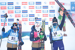 14.02.2021, Center Pokljuka, Pokljuka, SLO, IBU Weltmeisterschaften Biathlon, Sprint, Damen, im Bild chevalier bouchet (anais) (fra), echkoff (tiril) (nor), sola (hanna) (blr) // during womens Sprint competition of IBU Biathlon World Championships at the Center Pokljuka in Pokljuka, Slovenia on 2021/02/14. EXPA Pictures © 2021, PhotoCredit: EXPA/ Pressesports/ Frederic Mons<br /> <br /> *****ATTENTION - for AUT, SLO, CRO, SRB, BIH, MAZ, POL only*****