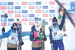 14.02.2021, Center Pokljuka, Pokljuka, SLO, IBU Weltmeisterschaften Biathlon, Sprint, Damen, im Bild chevalier bouchet (anais) (fra), echkoff (tiril) (nor), sola (hanna) (blr) // during womens Sprint competition of IBU Biathlon World Championships at the Center Pokljuka in Pokljuka, Slovenia on 2021/02/14. EXPA Pictures © 2021, PhotoCredit: EXPA/ Pressesports/ Frederic Mons<br /> <br /> *****ATTENTION - for AUT, SLO, CRO, SRB, BIH, MAZ, POL only*****