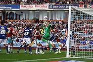 Birmingham City Goalkeeper Tomasz Kuszczak looks to punch the ball clear. Skybet football league championship match, Burnley  v Birmingham City at Turf Moor in Burnley, Lancs on Saturday 15th August 2015.<br /> pic by Chris Stading, Andrew Orchard sports photography.