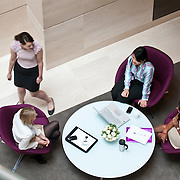 High angle view of businesswomen in a round table meeting