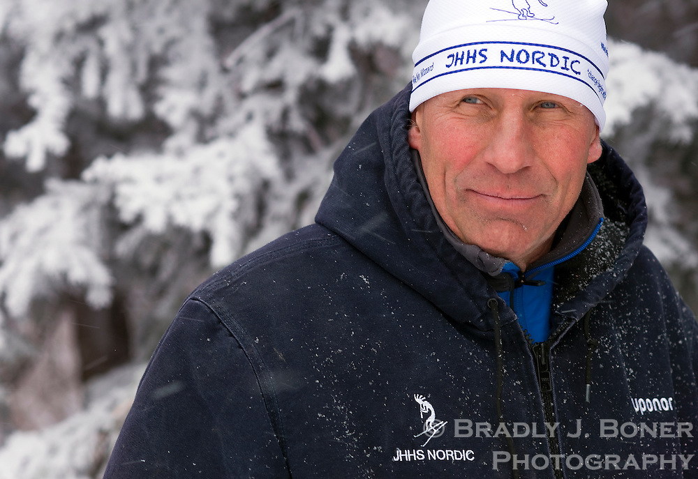 Walt Berling, Jackson Hole High School Nordic coach, photographed for Jackson Hole Magazine.