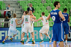 Team Lithuania celebrate victory and becoming european champions during basketball match between National teams of Lithuania and France in Final match of U20 Men European Championship Slovenia 2012, on July 22, 2012 in SRC Stozice, Ljubljana, Slovenia. Lithuania defeated France 50:49. (Photo by Matic Klansek Velej / Sportida.com)
