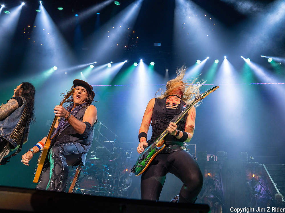 Guitarist RYAN ROXIE and NITA STRAUSS, vocals and guitar, perform with Alice Cooper.  After nearly 19 months off stage, Rock and Roll legend Alice Cooper, 73, launched his fall 2021 tour at Ocean Casino Resort in Atlantic City, New Jersey.