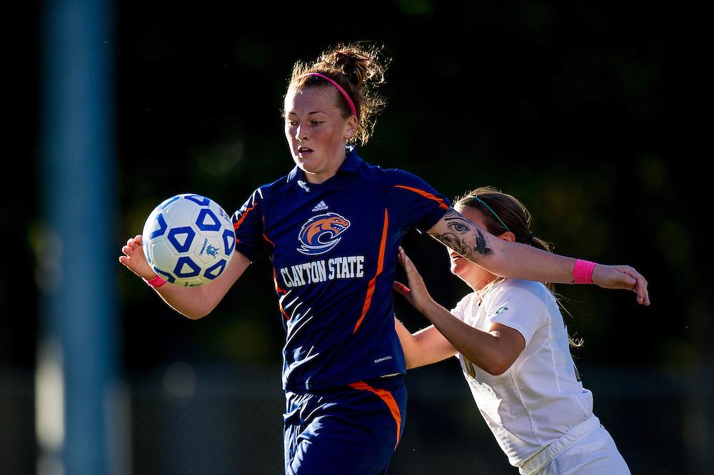 Oct 23, 2013; Morrow, GA, USA; Clayton State women's soccer player Melissa Hetherington against Georgia Southwestern at CSU. CSU won 4-0. Photo by Kevin Liles/kevindliles.com