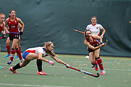 Sian French of Wales ® passing the ball. Wales v Russia, semi final,  EuroHockey 11 Women's championshp 2017 in Cardiff, South Wales , Friday 11th August 2017<br /> pic by Andrew Orchard
