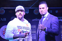 December 8, 2016 - Auckland, New Zealand - Joseph Parker faces off Andy Ruiz during a Press conference ahead of the WBO world title boxing match on Sat 10 Dec. (Credit Image: © Shirkey Kwok/Pacific Press via ZUMA Wire)