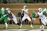 Marshall Thundering Herd quarterback Chase Litton (1) drops back to pass against the North Texas Mean Green during the 1st half at Apogee Stadium in Denton, Texas on October 8, 2016. (Cooper Neill for The Herald-Dispatch)