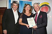 NO FEE PICTURES<br /> 25/1/19 Madelaine Keane, winner of Best Adventure, presented by Martin Skelly of uWalk.ie and Eoghan Corry, editor of Travel Extra pictured at the Travel Extra Travel Journalist of the Year 2018 at the Clayton Hotel, Ballsbridge in Dublin. Picture; Arthur Carron