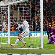 Galatasaray's Umut Bulut (C) scores  during their Turkish Super League soccer match Galatasaray between Mersin idman Yurdu at the AliSamiYen Spor Kompleksi TT Arena at Seyrantepe in Istanbul Turkey on Saturday, 20 December 2014. Photo by Aykut AKICI/TURKPIX