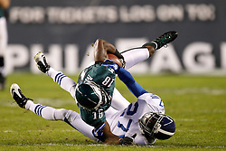 Philadelphia Eagles wide receiver Jeremy Maclin #18 is tackled by Indianapolis Colts cornerback Jacob Lacey #27 during the NFL Game between the Indianapolis Colts and the Philadelphia Eagles. The Eagles won 26-24 at Lincoln Financial Field in Philadelphia, Pennsylvania on Sunday November 7th 2010. (Photo By Brian Garfinkel)
