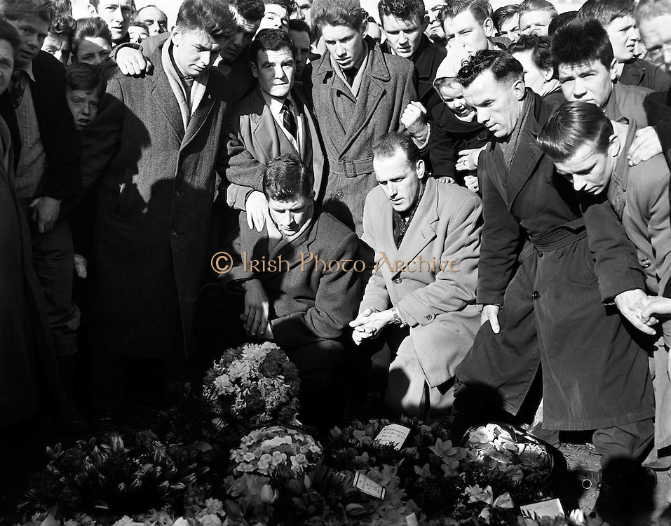 """Liam Whelan Funeral.19.02.1958..William Augustine Whelan (born 1 April 1935 in Dublin - 6 February 1958), also known as Billy Whelan or Liam Whelan, was an Irish footballer and one of the eight Manchester United players who were killed in the Munich air disaster. He was 22 years old when he died..Whelan was a devout Roman Catholic who came from a large family; his father John had died in 1943, when Whelan was eight years old. He was not a confident flyer and just before the aeroplane took off from Munich, he was heard to say: """"Well, if this is the time, then I'm ready."""".Whelan began his career with Home Farm before joining Manchester United..He made 98 first-team appearances between August 1955 and February 1958, scoring 52 goals. He had previously played for Irish club Home Farm, and was capped four times for the Republic of Ireland national team, but unfortunately did not score..On 8 December 2006 the railway bridge on Faussagh Road/Dowth Avenue junction in Cabra, Dublin 7 close to Dalymount Park was renamed in his honour. The campaign to have the bridge renamed was initiated and organised by members of the Cabra, GAA club, Naomh Fionbarra (gaelic spelling) (St. Finbarr's) and sanctioned by Dublin City Council in early 2006. It is close to St. Attracta Road, the street in which he was born. The unveiling ceremony was performed by Whelan's Manchester United team mate at the time of the aircrash, Sir Bobby Charlton..On 4 February 2008, the Irish national postal body An Post issued a 55c postage stamp for the 50th anniversary of the Munich Air Disaster showing a photo of Liam Whelan.."""