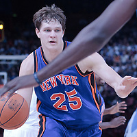 06 October 2010: New York Knicks center Timofey Mozgov #25 is seen during the Minnesota Timberwolves 106-100 victory over the New York Knicks, during 2010 NBA Europe Live, at the POPB Arena in Paris, France.