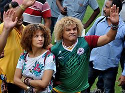 September 8, 2017 - Kolkata, West Bengal, India - Colombian former footballer Carlos Alberto Valderrama Palacio (Valderrama) in a light moment at Eden Garden on September 8, 2017 in Kolkata. (Credit Image: © Saikat Paul/Pacific Press via ZUMA Wire)