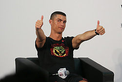 BEIJING, July 19, 2018  Portuguese football player Cristiano Ronaldo gestures as he attends a promotional event in Beijing, capital of China, on July 19, 2018. (Credit Image: © Cao Can/Xinhua via ZUMA Wire)