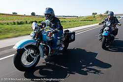 Chris Salisbury (L) riding alongside Kyle Rose on the Cross Country Chase motorcycle endurance run from Sault Sainte Marie, MI to Key West, FL. (for vintage bikes from 1930-1948). Stage-10 covered 110 miles from Miami to the finish in Key West, FL USA. Sunday, September 15, 2019. Photography ©2019 Michael Lichter.
