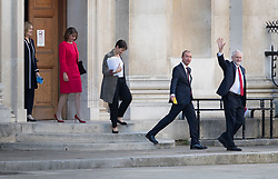 © Licensed to London News Pictures. 31/05/2017. Cambridge, UK.  Jeremy Corbyn (R) waves as he leads Tim Farron, Caroline Lucas, Leanne Wood and Home Secretary Amber Rudd into the leaders TV debate at Senate House, Cambridge. Recent polls have show a closing in the gap between the Labour Party and Conservative Party, in what was expected to be a landslide general election victory for the Conservatives. Photo credit: Peter Macdiarmid/LNP