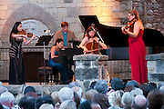 At the Napa Valley Festival del Sole, Joyce Yang joined violinist Sarah Chang, cellist Nina Kotova, violist Katie Kadarauch and soprano Nino Machaidze in a chamber music program that included the Brahms Piano Quartet in C Minor, at Castello di Amorosa, Napa Valley winery castle built by Dario Sattui.