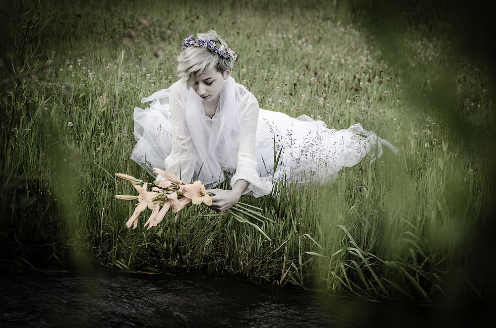 A conceptual portrait series depicting the suicide of Ophelia from Shakespeare's Macbeth,  Photographed by Janelle Pietrzak aka Explored Exposure.