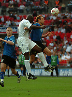 Photo: Tony Oudot.<br /> England v Estonia. UEFA European Championships Qualifying. 13/10/2007.<br /> Joel Lindpere of Estonia challenges Sol Campbell of England to the ball