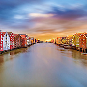 Wooden houses of Trondheim over the Nidelva. Picture is taken over the Gamle bybro (Old town bridge).