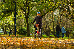 © Licensed to London News Pictures. 26/10/2018. Aberystwyth, UK. People walking along the tree lined Plascrug Avenue park as the leaves shine in their autumn colours n a bitterly cold but bright and sunny October afternoon in Aberystwyth Wales.Photo credit: Keith Morris/LNP