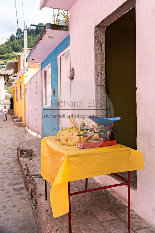 Freshly butchered chickens at a street stall against a bright pink building in Angangueo, Michoacan, Mexico. Angangueo is a tiny, remote mountain town and the entry point to the Sierra Chincua Monarch Butterfly Sanctuary.