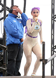 "© Licensed to London News Pictures. 24/06/2017. Security guard PAUL CARPENTER gets a dance as he watches KATY PERRY perform on the Pyramid Stage at Glastonbury Festival. Afterwards he said  "" I'll not forget that anytime soon "". Photo credit: Jason Bryant/LNP"