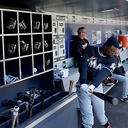 NEW YORK, NEW YORK - APRIL 13: Dee Gordon, Miami Marlins, preparing to bat in the dugout during the Miami Marlins Vs New York Mets MLB regular season ball game at Citi Field on April 13, 2016 in New York City. (Photo by Tim Clayton/Corbis via Getty Images)