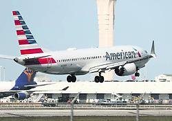March 28, 2019 - Miami, FL, USA - Un Boeing 737 Max 8 de American Airlines en el Aeropuerto Internacional de Miami, en una imagen del 12 de marzo del 2019. (Credit Image: © Joe Raedle Getty Images Tns/Miami Herald/TNS via ZUMA Wire)