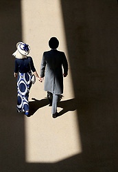 Racegoers arrive during day five of Royal Ascot at Ascot Racecourse.