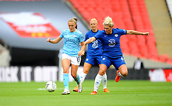 Millie Bright of Chelsea Women jostles with Georgia Stanway of Manchester City Women- Mandatory by-line: Nizaam Jones/JMP - 29/08/2020 - FOOTBALL - Wembley Stadium - London, England - Chelsea v Manchester City - FA Women's Community Shield