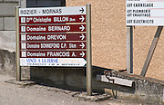 street sign to wineries ampuis rhone france