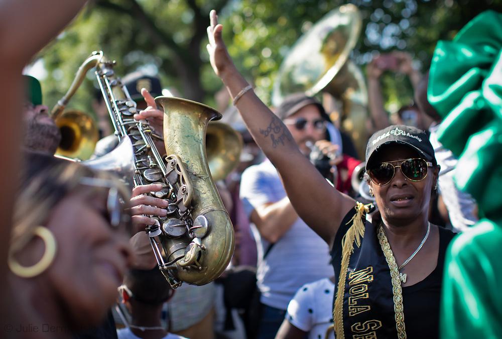 Second-line for  New Orleans legendary musician, Dr. John (Mac Rebennack) in New Orleans. Dr. John died of a heartattack on Jume 6, 2019