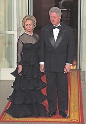 United States President Bill Clinton and first lady Hillary Rodham Clinton await the arrival of Premier Zhu Rongji of the People's Republic of China and his wife, Madame Lao An, for an Official Dinner in their honor on the North Portico of the White House in Washington, D.C. on April 8, 1999. Photo by Ron Sachs/CNP/ABACAPRESS.COM