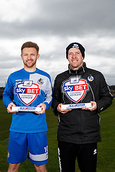 Sky Bet Football League 2 Player of the Month Matty Taylor and Manager of the Month Darrell Clarke, both of Bristol Rovers, pose with their awards - Mandatory byline: Rogan Thomson/JMP - 07/04/2016 - FOOTBALL - The Lawns Training Ground - Bristol, England - Sky Bet Football League Awards.