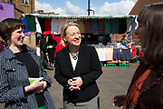 London, UK. Thursday 30th April 2015. Leader of the Green Party, Natalie Bennett pays a visit to talk to local people and stall holders at Ridley Road Market in Dalston, Borough of Hackney, at the heart of multicultural East London. Natalie Bennett is an Australian-born British politician and journalist. She was elected to her position as the leader of the Green Party of England and Wales in 2012.