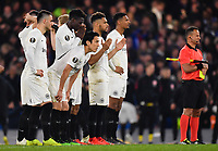 Football - 2018 / 2019 UEFA Europa League - Semi-Final, Second Leg: Chelsea (1) vs. Eintracht Frankfurt (1)<br /> <br /> Eintracht Frankfurt players wait on the final penalty successfully converted by Chelsea's Eden Hazard as they win the shoot out 4-3, at Stamford Bridge.<br /> <br /> COLORSPORT/ASHLEY WESTERN