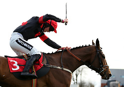 The Knot Is Tied ridden by jockey Bryony Frost during the Get Switched On With Matchbook Juvenile Handicap Hurdleat Sandown Park Racecourse, Esher.