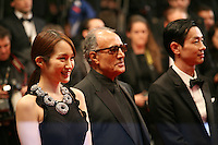 Actress, Rin Takanashi Director and scriptwriter Abbas Kiarostami, Actor, Ryo Kase  at the Like Someone In Love gala screening at the 65th Cannes Film Festival France. Monday 21st May 2012 in Cannes Film Festival, France.