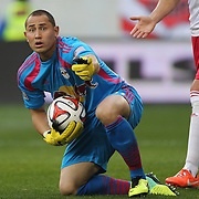 Goalkeeper Luis Robles, New York Red Bulls, in action during the New York Red Bulls Vs Portland Timbers, Major League Soccer regular season match at Red Bull Arena, Harrison, New Jersey. USA. 24th May 2014. Photo Tim Clayton