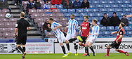 Paul Anderson of Ipswich Town scores this opening goal during the Sky Bet Championship match at the John Smiths Stadium, Huddersfield<br /> Picture by Graham Crowther/Focus Images Ltd +44 7763 140036<br /> 08/04/2014