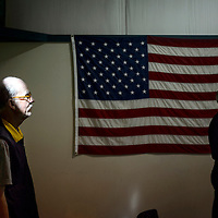 012014  Adron Gardner/Independent<br /> <br /> Don Hyde, left, is illuminated by light from a window during a commemorative event for Martin Luther King Jr. Day at the Community Center in Gallup Monday.