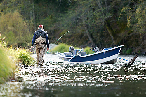 Jon Mercedich fly fishing on the Trinity River in Northern California.<br />