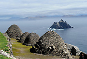 The haunting and beautiful Skellig Rocks off the coast of County Kerry where filming of the latest 'Star Wars' was filmed. The rocks are a UNESCO world heritage centre situated 11 miles from Valentia Island and the South Kerry coast. Filming of 'Star Wars 7' is due to take place on Skellig Micheal once inhabited only by monks. A Christian monastery was founded on the island  between the 6th and 8th century, and was continuously occupied until its abandonment in the late 12th century. The remains of this monastery, along with most of the island itself, were inscribed on the UNESCO World Heritage Site list in 1996.<br /> Photo shows Little Skellig viewed from Skellig Michael.<br /> Picture by Don MacMonagle