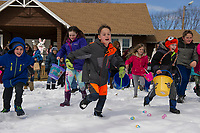 """On the sound of """"go"""" children head to the field from Leavitt Park clubhouse as their search for eggs during Laconia Parks and Recreation Easter egg hunt on Sunday afternoon.  (Karen Bobotas/for the Laconia Daily Sun)"""