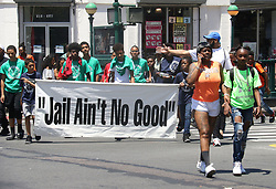 June 16, 2018 - New York City, New York, U.S. - A view of Juneteenth Celebrations held on West 116th Street and Malcolm X Blvd in Harlem. The Juneteenth holiday also known as Freedom Day commemorates  the June 19, 1865  announcement when slaves in Texas learned they were free. While the Emancipation Proclamation declared slaves free in 1863 it had no real effect until after the end of the Civil War. (Credit Image: © Nancy Kaszerman via ZUMA Wire)